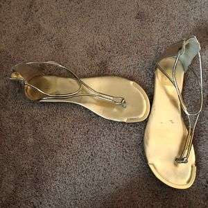 DV Metallic Gold Sandals with zip up back